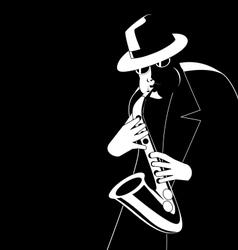 Jazzman in the dark vector image vector image