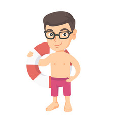 Little caucasian boy holding a red-white lifebuoy vector