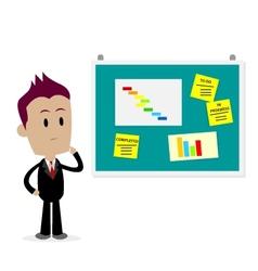 Man looking at office bulletin board vector