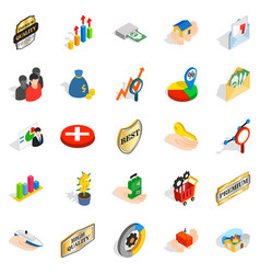 Manual icons set isometric style vector