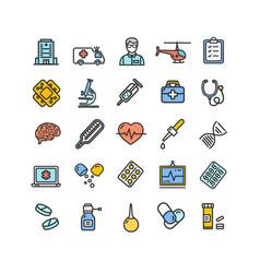medicine symbols and signs color thin line icon vector image
