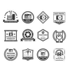 Photography Black White Emblems Set vector image vector image