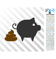 Pig shit flat icon with bonus vector