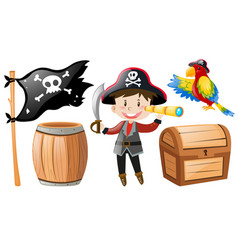 Pirate set with pirate and parrot vector