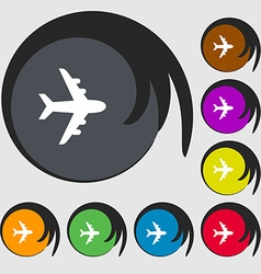 Plane icon sign Symbols on eight colored buttons vector image