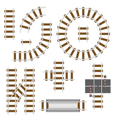 railway structural elements top view railroad vector image