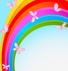 Rainbow sky with butterfly vector
