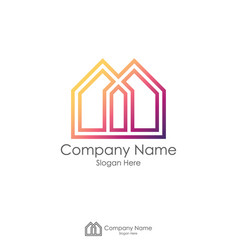 real estate logo design with initial letter m or x vector image