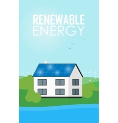 Renewable energy banner solar panels on house vector