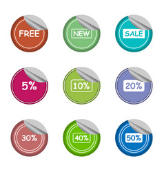 salenewfreeand percentage sticker label set vector image vector image