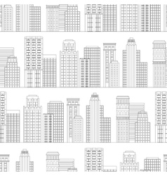 Seamless pattern of line skyscrapers Black and vector image