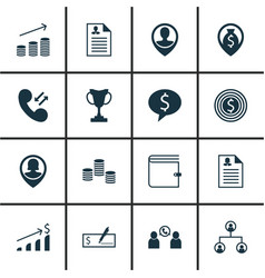 Set of 16 management icons includes wallet tree vector