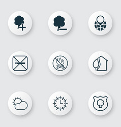 Set of 9 eco-friendly icons includes clear vector