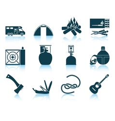 Set of camping icons vector image vector image