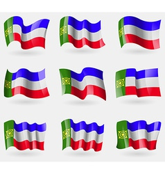 Set of khakassia flags in the air vector