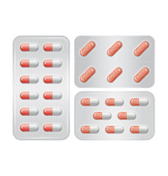 Set of package of pills group of realistic red vector