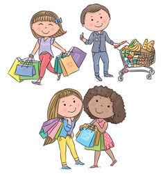 Shopping kids vector