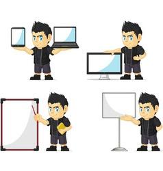 Spiky Rocker Boy Customizable Mascot 20 vector image vector image