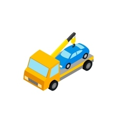 Tow truck hauls car to penalty parking icon vector image vector image