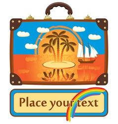 Travel suitcase with sea vector image vector image