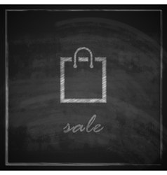 vintage with a shopping bag on blackboard vector image vector image