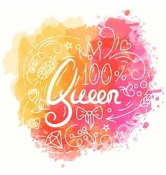 Queen typography design lettering print for t vector