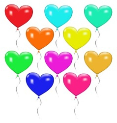 Set of colorful balloons in the form of heart vector