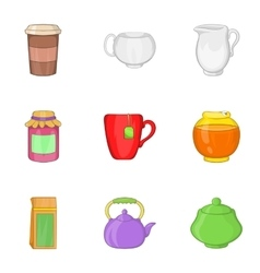 Types of drink icons set cartoon style vector