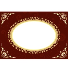 Brown card with oval and patter vector