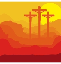 Picture of sunset crucifix design vector