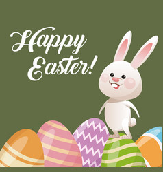 Happy easter card rabbit with egg decoration vector