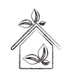 sticker eco houese with leaves icon vector image