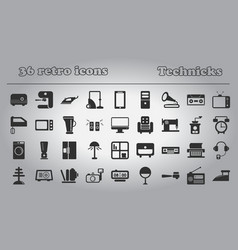 home retro appliances set house technics vector image