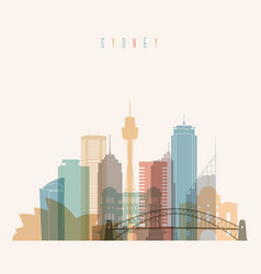 sydney state new south wales skyline silhouette vector image