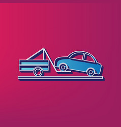 Tow truck sign  blue 3d printed icon on vector