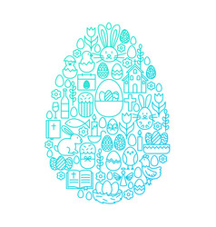Easter line icon egg design vector