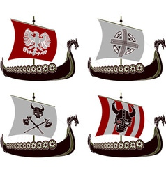 Set of viking drakkars vector