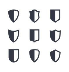 Shield frames simple icons set vector