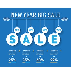 New year sale time line graph social activity vector
