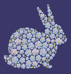 Easter design with bunny from flowers forget me vector