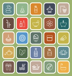Spa line flat icons on green background vector