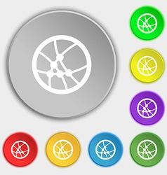 Basketball icon sign symbols on eight flat buttons vector