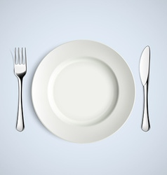 White plate fork and knife vector