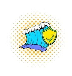 Blue tsunami wave and yellow shield with tick icon vector