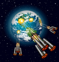 alien spaceships attacking earth vector image
