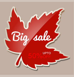 Autumn big sale banner with red maple leaf - 50 vector