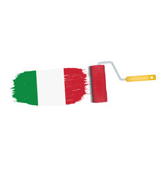 brush stroke with italy national flag isolated on vector image