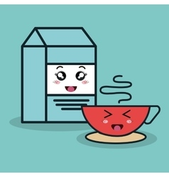 Cartoon box milk and cup coffee with facial vector