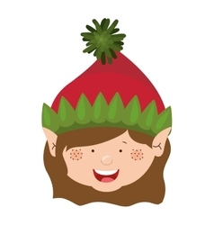 color image of gnome girl head vector image