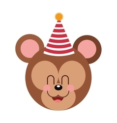 Cute baby bear party hat vector